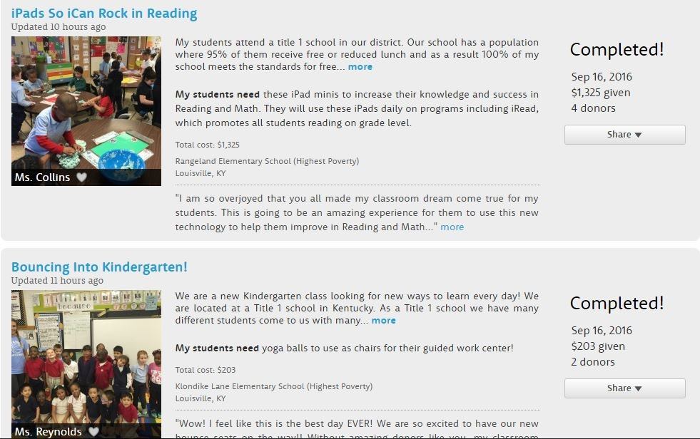 Some of the projects funded through www.donorschoose.org on Friday