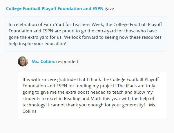 Teachers received notifications like this to inform them their project had been funded by ESPN and the College Football Playoff Foundation