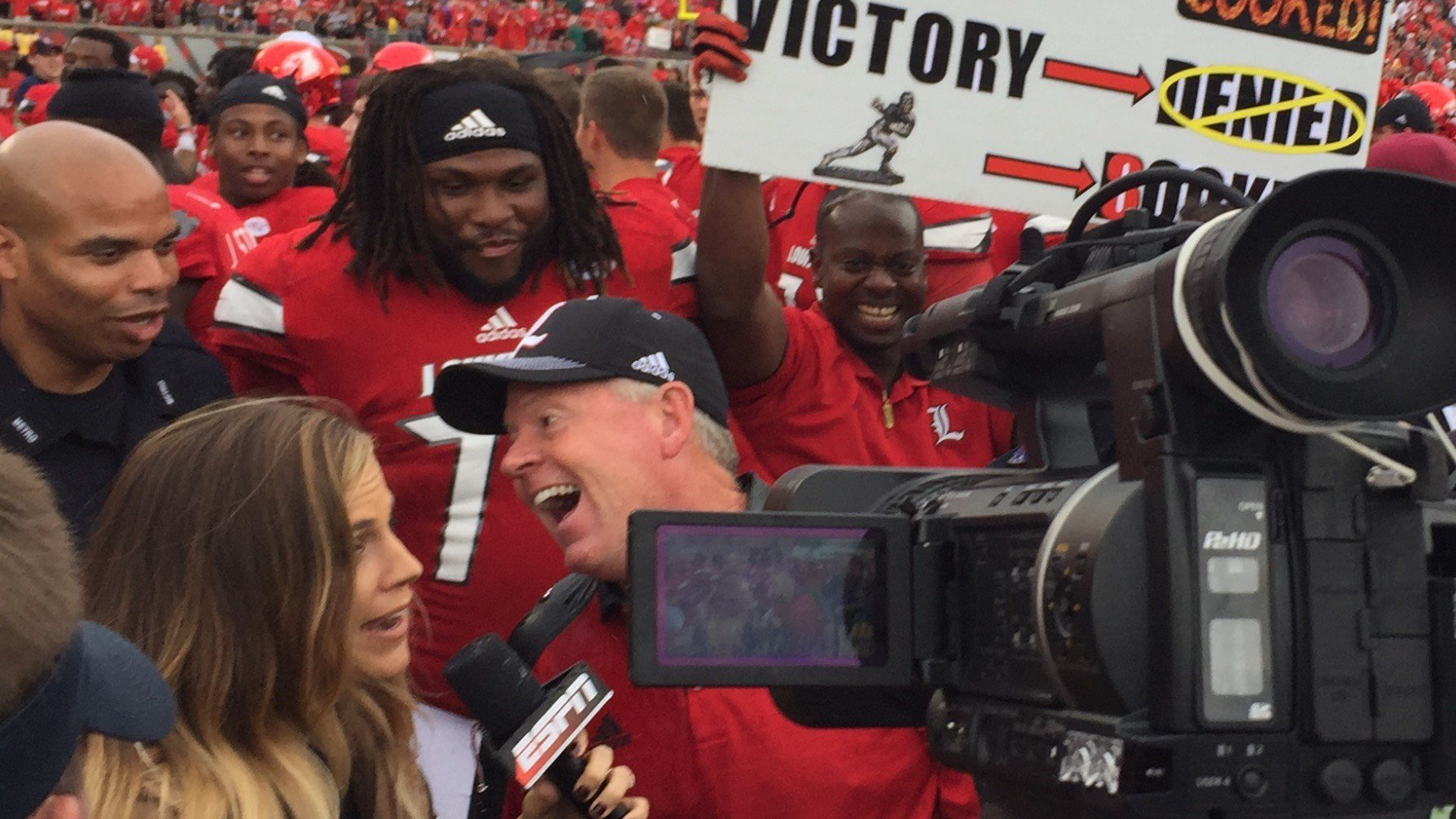 Louisville football coach Bobby Petrino enjoyed the Cardinals' jumbo win over Florida State Saturday.