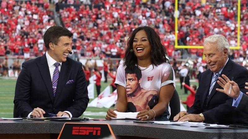 ESPN GameDay set on Saturday inside Papa John's Cardinal Stadium. (WDRB photo by Mike DeZarn).