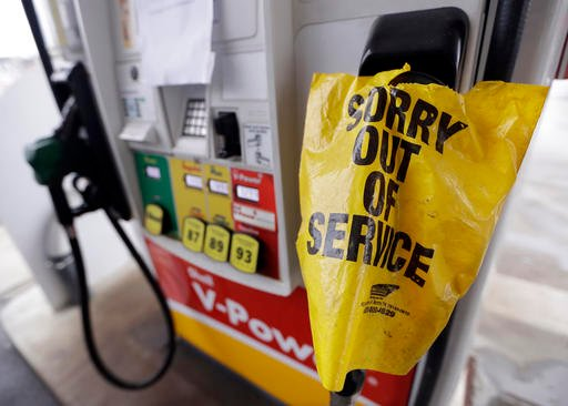 (AP Photo/Mark Humphrey). A bag covers a pump handle at a gas station that has no fuel to sell Saturday, Sept. 17, 2016, in Nashville, Tenn. Fuel supplies in at least five states are threatened by a gasoline pipeline spill in Alabama.