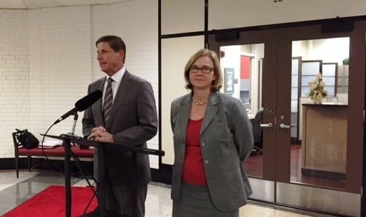 Larry Benz, chairman of the University of Louisville board of trustees, and Brucie Moore, chairwoman of the U of L Foundation Board of Directors
