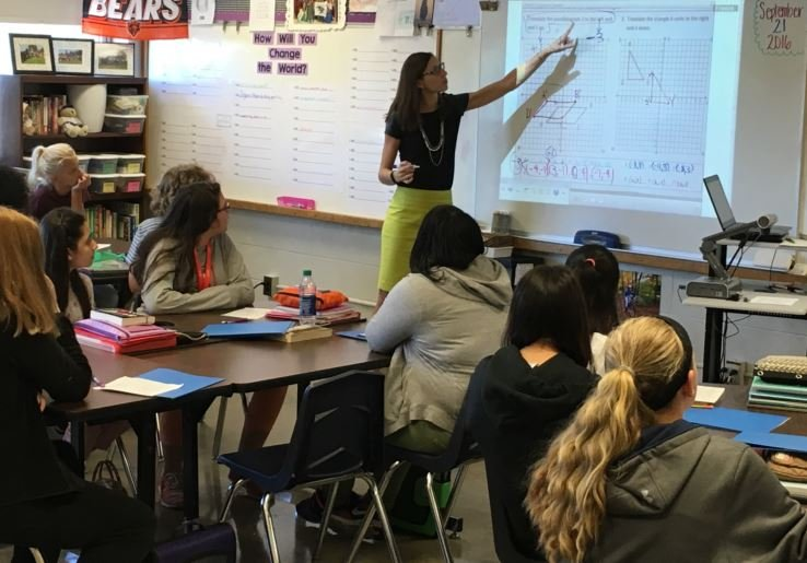 Laura Peavley, a math teacher at Westport Middle School's popular Montessori program (Photo by Toni Konz, WDRB News)