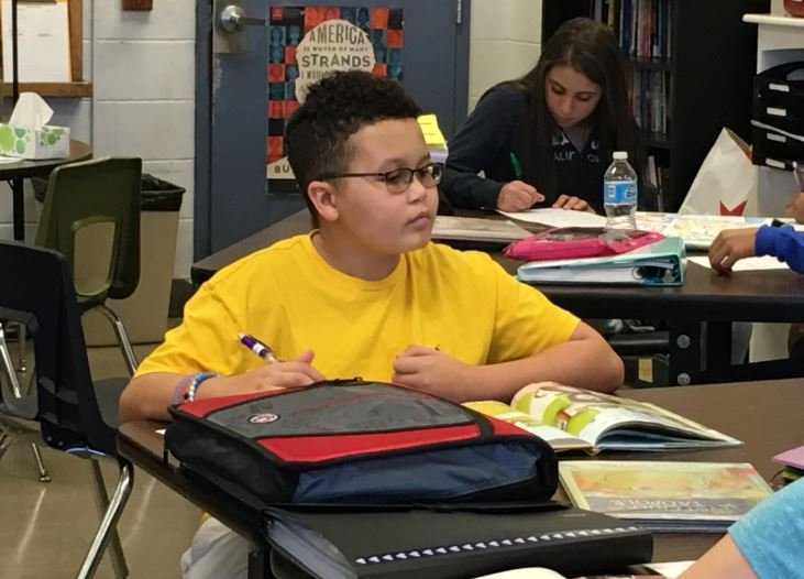 Jonathan Lydian, an 8th grader at Westport Middle, has been part of the JCPS Montessori education magnet program since kindergarten. (Photo by Toni Konz, WDRB News)
