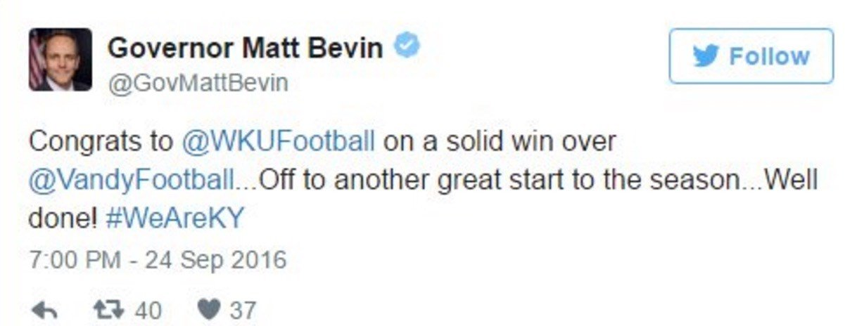 Kentucky Gov. Matt Bevin wasn't the only one who thought Western Kentucky had Vanderbilt beaten.