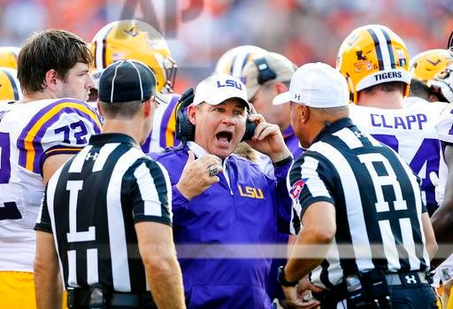 LSU head coach Les Miles reacts to a call during the first half of an NCAA college football game against Auburn, Saturday, Sept. 24, 2016, in Auburn, Ala. (AP Photo/Butch Dill)