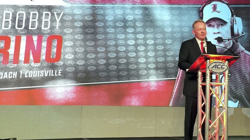 Petrino speaks at ACC Media Day. (WDRB photo by Eric Crawford)