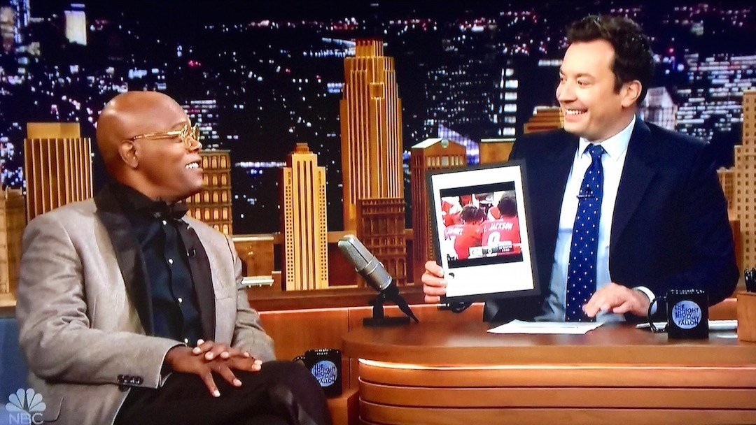 Samuel L. Jackson and Jimmy Fallon talk about Lamar Jackson and Louisville football on The Tonight Show Monday.