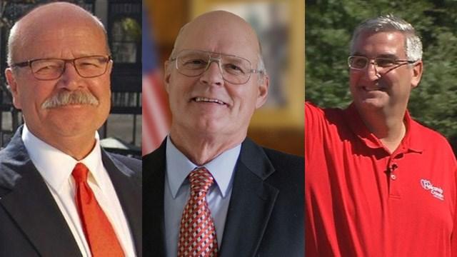 Democrat John Gregg, Libertarian Rex Bell and Republican Eric Holcomb.