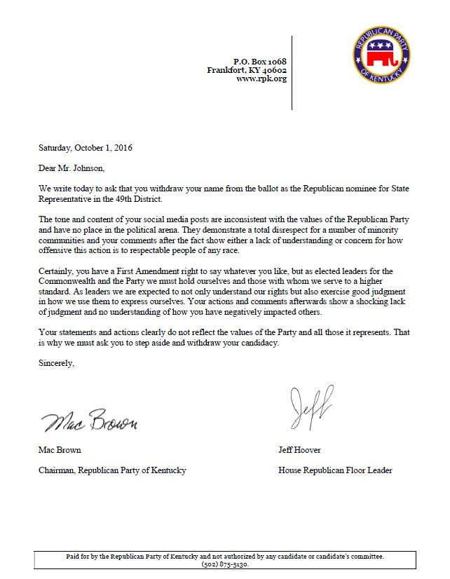 The letter sent to Dan Johnson from the Republican Party of Kentucky