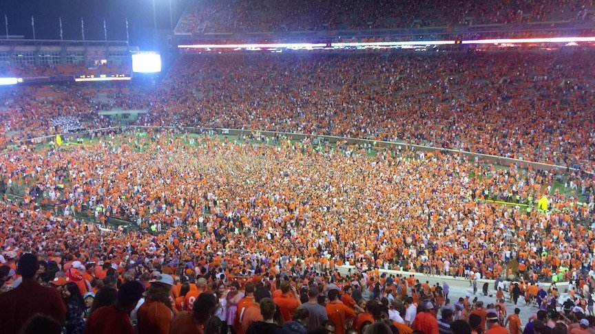 Fans at Clemson storm the field after Saturdays' win over Louisville. (WDRB photo by Eric Crawford)