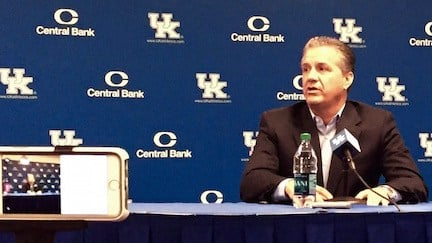 John Calipari speaks with reporters at Kentucky basketball media day. (WDRB photo by Eric Crawford)
