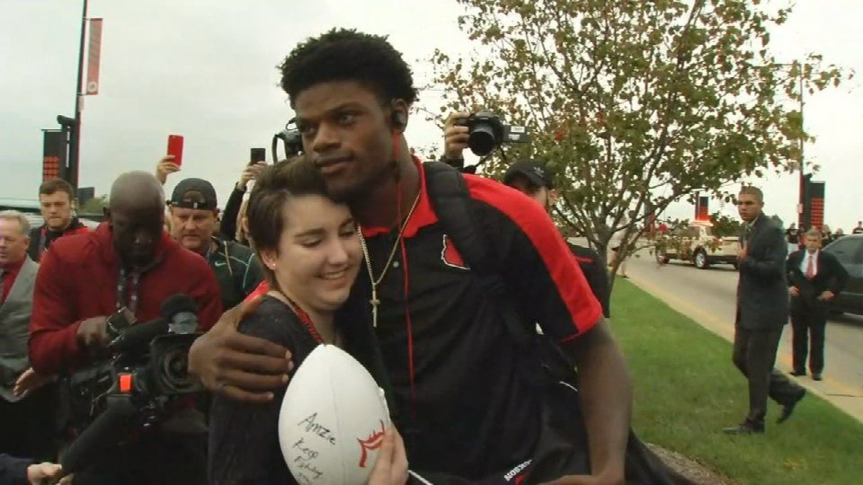 On Friday, Amzie got her wish to meet Louisville football star Lamar Jackson before the Cardinals' game against Duke.