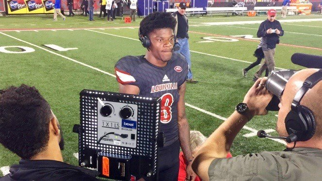 Lamar Jackson speaks with ESPN after Louisville's 24-14 win over Duke. (WDRB photo by Rick Bozich)