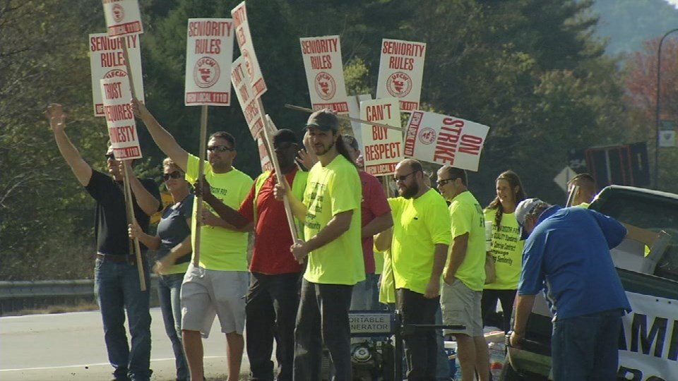 Union workers at Jim Beam's distilleries walked out on the job in October 2016.