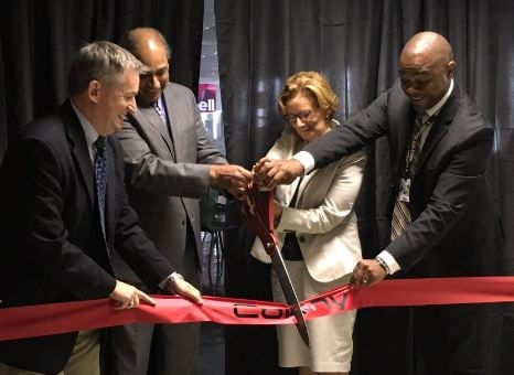 "JCPS and University of Louisville officials participate in the ribbon cutting of Central High School's ""The Colony"" on Tuesday (Photo by Toni Konz, WDRB)"