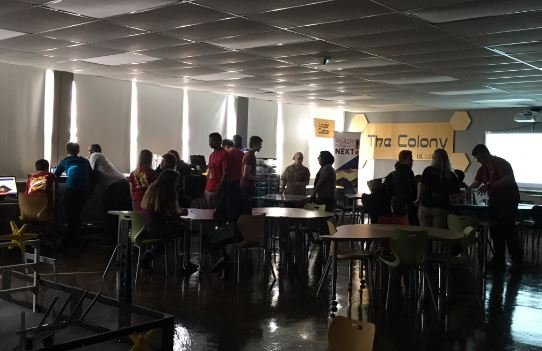 "Central High students work inside ""The Colony"" on Tuesday."