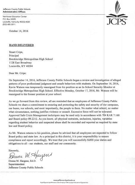 JCPS Superintendent Donna Hargens letter to Breckinridge Metro principal Butch Cripe