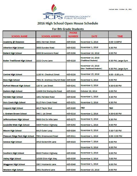 JCPS open house schedule for high schools