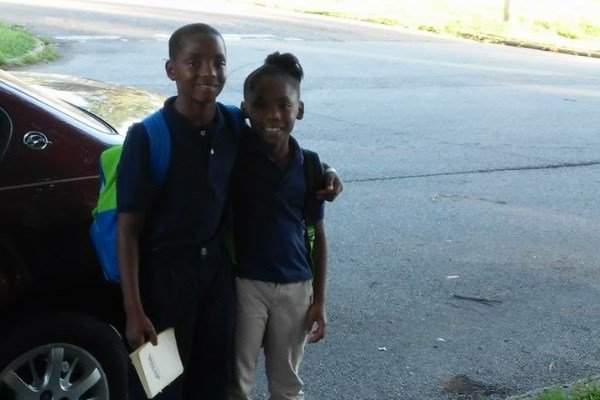Jaconiah Fields, 10, and his sister Vanessa Levros, 9. Both are students at Dixie Elementary