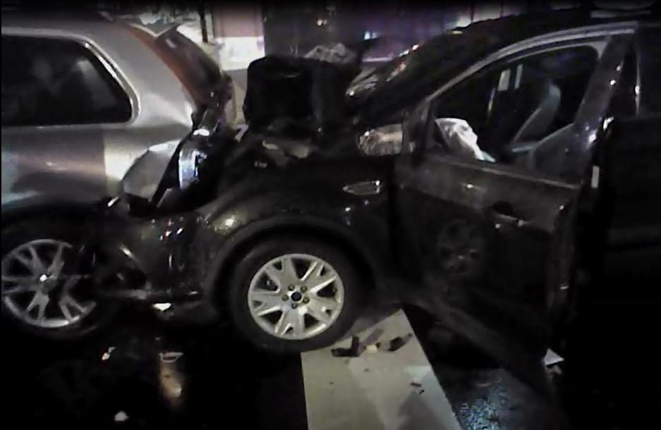 Photo of the Nov. 1, 2016 wreck involving Rachel Bouya Ahmed Limam and Amanda Doyle (LMPD body camera video)