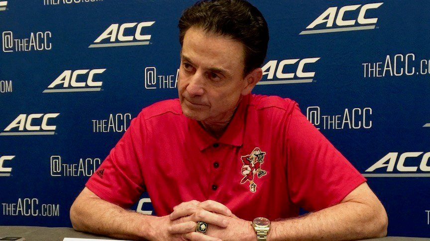Rick Pitino speaks with reporters at ACC Media Day. (WDRB photo by Eric Crawford)
