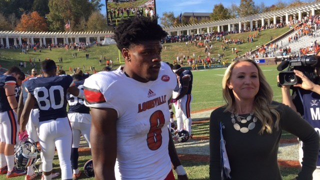 Lamar Jackson threw four touchdown passes, including the game-winner with 13 seconds to play, against Virginia Saturday.