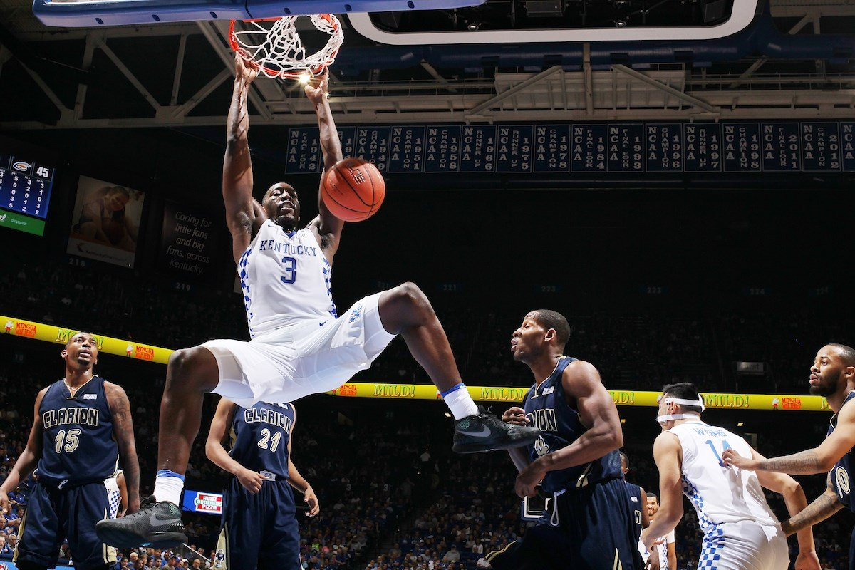 UK's Bam Adebayo slams home two of his 13 points in Kentucky's 108-51 season-opening exhibition win over Clarion. (Photo by Chet White, UK Athletics).
