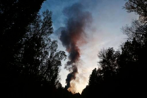 (AP Photo/Brynn Anderson). A plume of smoke rises from the site of an explosion on the Colonial Pipeline on Monday, Oct. 31, 2016, in Helena, Ala. Colonial Pipeline said in a statement that it has shut down its main pipeline in Alabama after the explosion