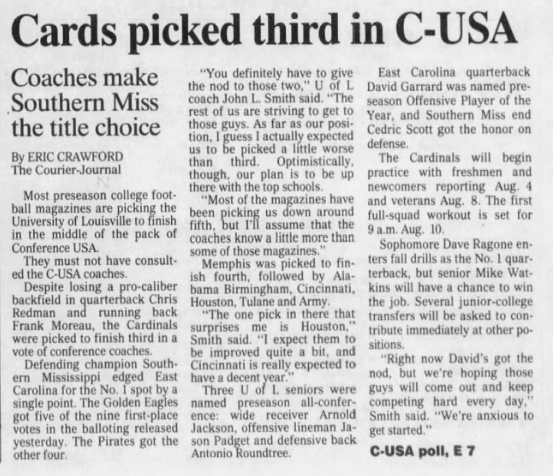Eric Crawford's first Louisville football story, from June 28, 2000 (Courier-Journal archive)