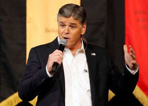 (AP Photo/Rick Scuteri, File). FILE - In this March 18, 2016 file photo, Fox News Channel's Sean Hannity speaks during a campaign rally for Republican presidential candidate, Sen. Ted Cruz.