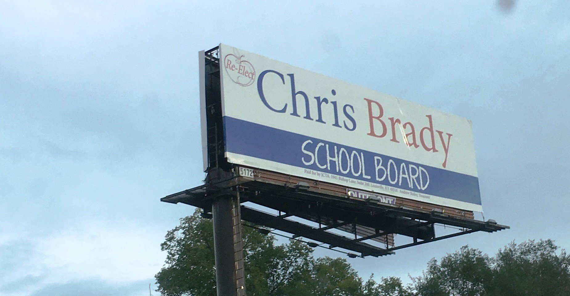 A billboard for Chris Brady paid for by the Jefferson County Teachers Association