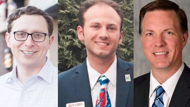From left to right) Chris Kolb, Ben Gies and Chris Brady were elected to the JCPS school board on Tuesday night. Kolb and Gies are newcomers, Brady was re-elected. (submitted photos)