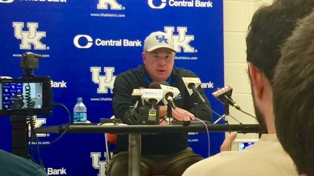 Kentucky coach Mark Stoops talks to reporters after the Wildcats' loss at Tennessee. (WDRB photo by Eric Crawford)