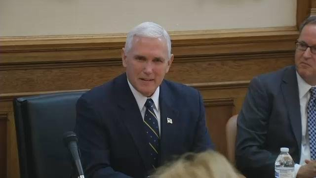 Mike Pence held his first cabinet meeting in Indianapolis on Nov. 14, 2016.