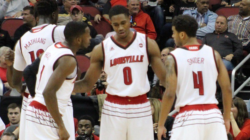 Louisville freshman V.J. King talks to during Monday's win. (WDRB photo by Eric Crawford)