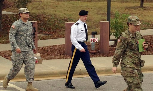 (AP Photo/Jonathan Drew). Army Sgt. Bowe Bergdahl is seen leaving a courtroom after a pretrial hearing in Fort Bragg, NC., Monday, Nov. 14, 2016.