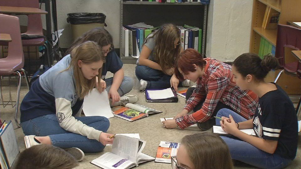 Highland Middle School students work on an assignment during class on Wednesday, Nov. 16, 2016 (Photo by Toni Konz, WDRB News)