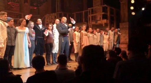 "(Hamilton LLC via AP). In this image made from a video provided by Hamilton LLC, actor Brandon Victor Dixon who plays Aaron Burr, the nation's third vice president, in ""Hamilton"" speaks from the stage after the curtain call in New York, Friday, Nov. 18."