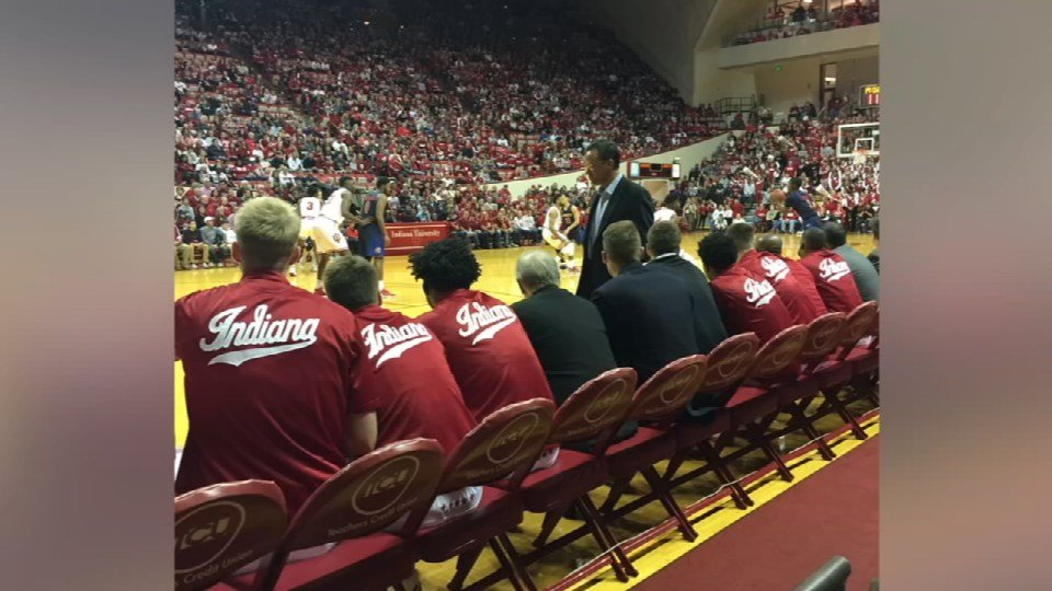 Jon and Anitya Petty were upgraded to courtside seats at Assembly Hall.