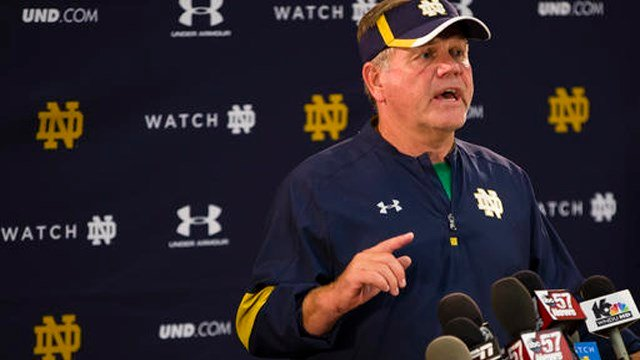 (Michael Caterina/South Bend Tribune via AP, File). FILE - In this Aug. 24, 2016, file photo, Notre Dame NCAA college football coach Brian Kelly speaks during a news conference in South Bend, Ind.