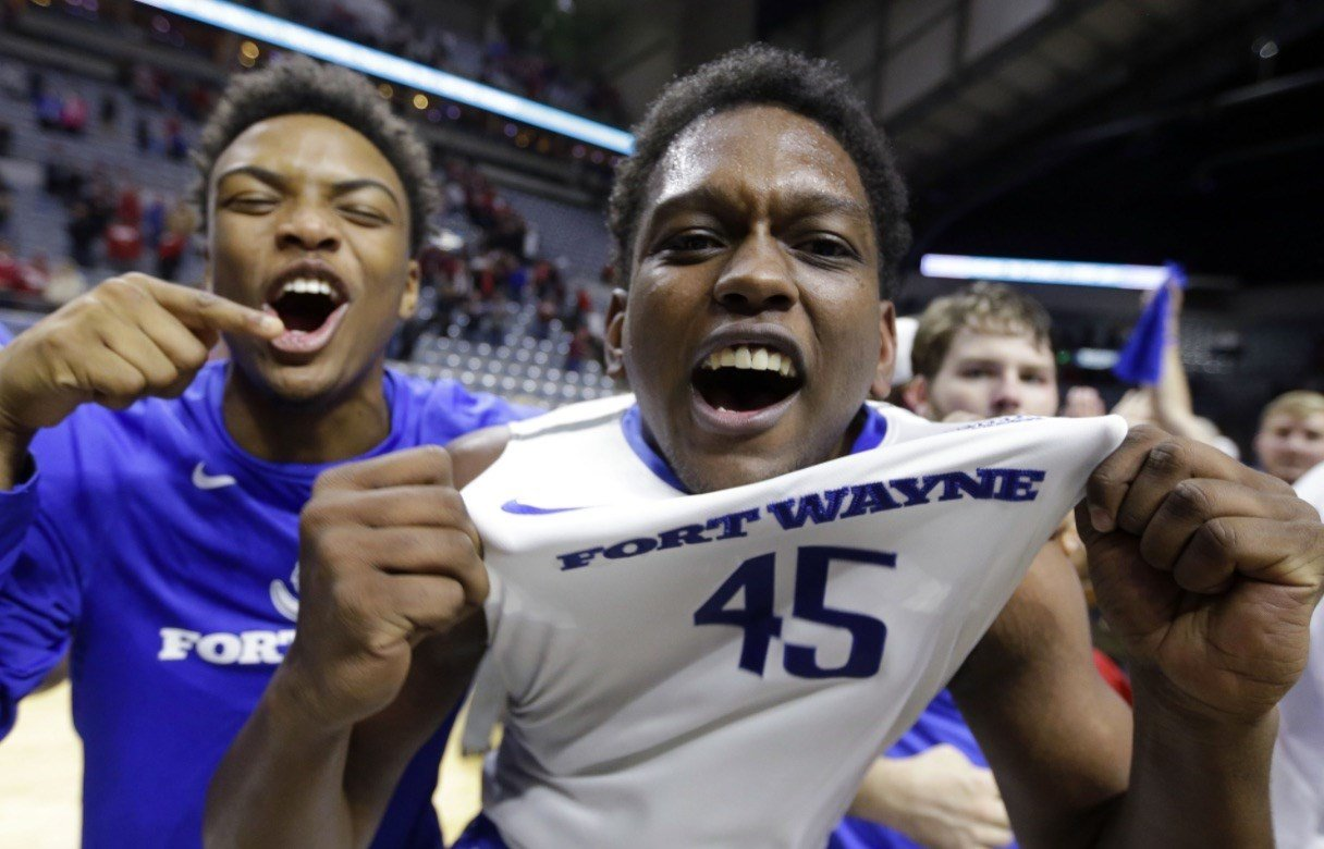 IPFW celebrated its upset victory over Indiana Tuesday night.