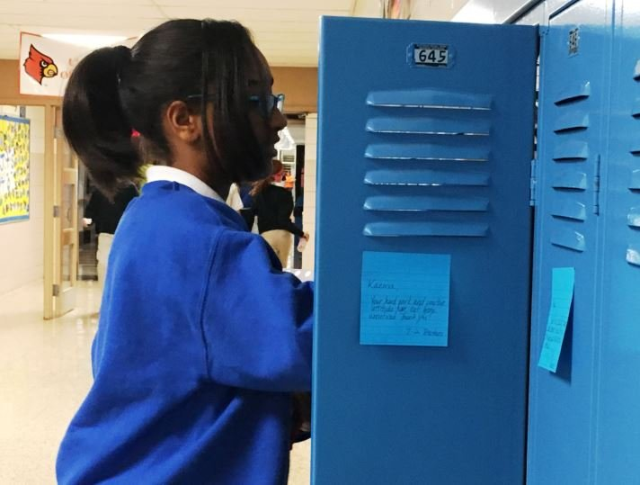 """Your hard work and positive attitude have not gone unnoticed. Thank you,"" reads the note left to this seventh grade student at JCTMS (Photo by Toni Konz, WDRB News)"
