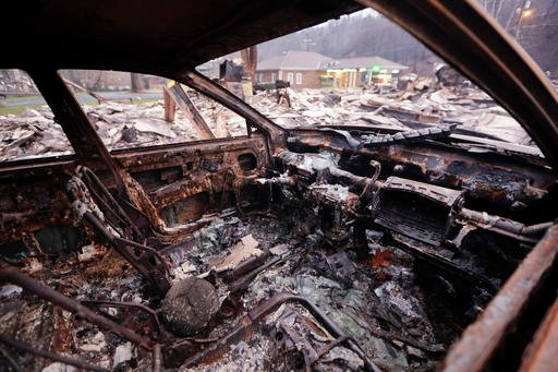 AP Photo/Mark Humphrey). A burned car sits in a parking lot Wednesday, Nov. 30, 2016, in Gatlinburg, Tenn., after a wildfire swept through the area Monday.