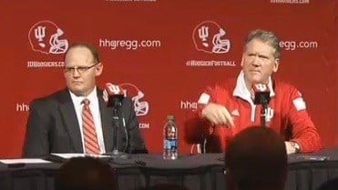 New IU football coach Tom Allen (left) and athletic director Fred Glass (right). (WDRB photo by John Lewis)