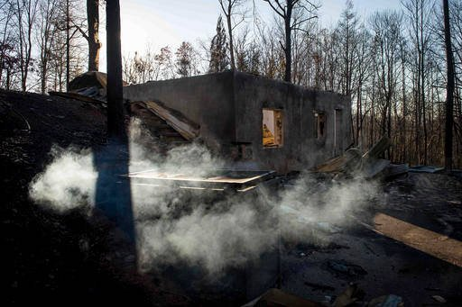 (Andrew Nelles/The Tennessean via AP). Smoke billows from the remains of a home on the northern outskirts of Gatlinburg, Tenn., Thursday, Dec. 1, 2016.