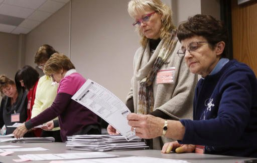 (John Ehlke/West Bend Daily News via AP). Tabulator Claudette Moll, right, from Farmington, looks over a ballot during a statewide presidential election recount Thursday, Dec. 1, 2016, West Bend, Wis.