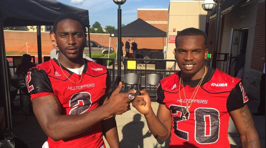 Former Louisville high school stars Taywan Taylor (left) and Anthony Wales scored five touchdowns in the first half of the C-USA title game.