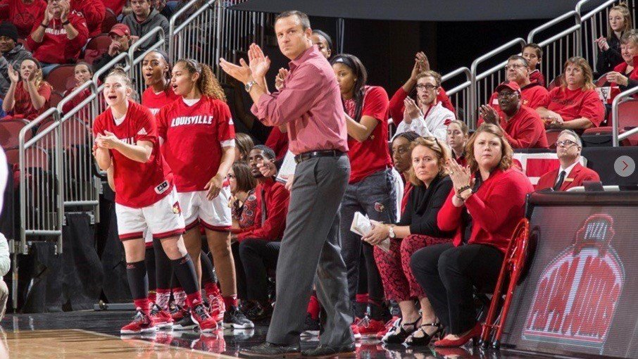 Jeff Walz applauds his team during Sunday's win over Kentucky. (Photo by Michelle Hutchins, GoCards.com. See a full photo gallery here: http://gocards.com/galleries/?gallery=3099