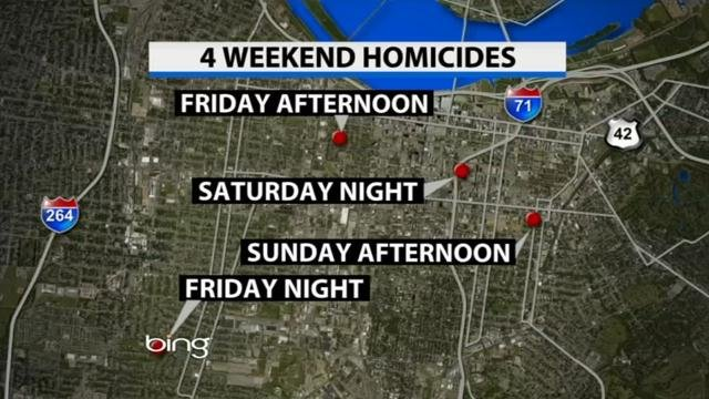 It was a deadly weekend in Louisville, with 4 people fatally shot in 3 days.